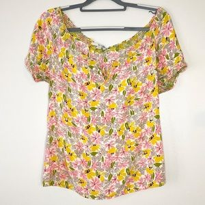 Boden | floral yellow and pink blouse